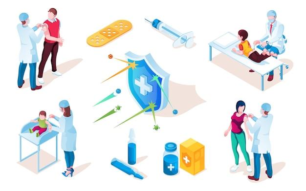 Poster di vaccino con siringa e tablet, pillole e scudo con croce. vaccinazione per bambini o bambini da