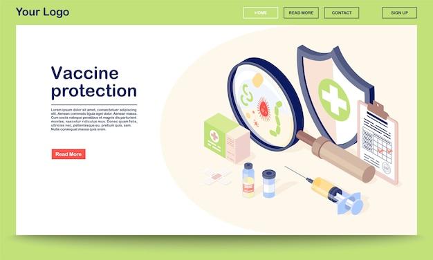 Modello di vettore della pagina web di protezione del vaccino con illustrazione isometrica. vaccinazioni, flaconcino, siringa, virus. clinica di immunizzazione. progettazione dell'interfaccia del sito web.