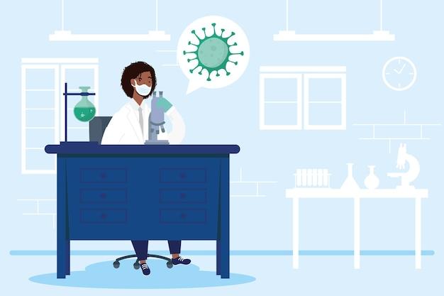Ricerca sui vaccini con disegno di illustrazione vettoriale di carattere medico femminile afro