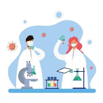 Ricerca di vaccini con coppia medici caratteri illustrazione vettoriale design