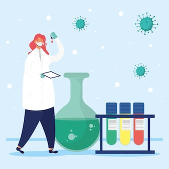 Ricerca sui vaccini con disegno di illustrazione vettoriale di carattere medico femminile