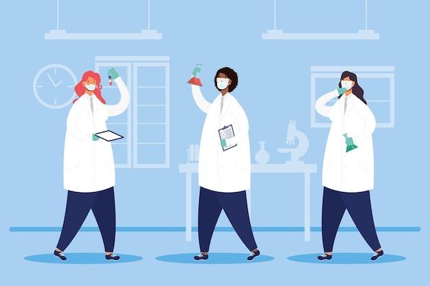 Ricerca sui vaccini con disegno di illustrazione vettoriale di caratteri del personale di medici femminili