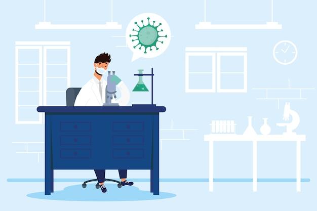 Ricerca sui vaccini con disegno di illustrazione vettoriale di carattere medico maschio