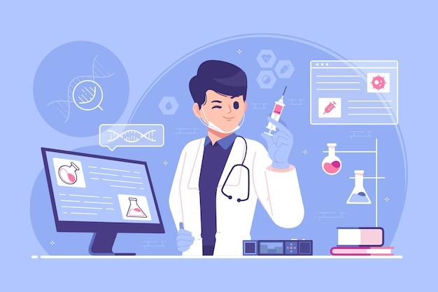 Illustrazione del concetto di processo di test e approvazione del vaccino