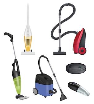 Aspirapolvere moderno. detergente per tappeti oggetti realistici servizi igienico-sanitari camere.