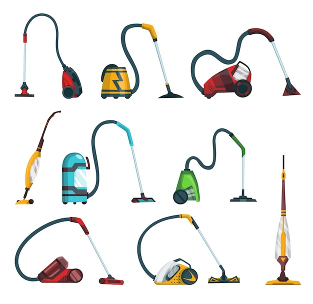 Set di icone moderne dell'aspirapolvere. articoli per la pulizia della moquette e cicloni robotizzati di lavaggio. attrezzature per la pulizia di vettore del fumetto per la casa, l'ufficio o l'auto.