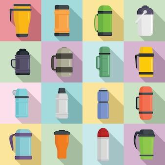 Icone della bottiglia di acqua isolate sottovuoto messe, stile piano