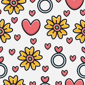 Valentin's cartoon doodle pattern design