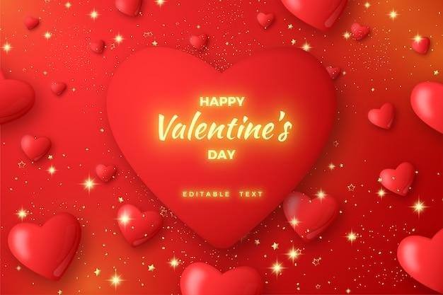 Sfondo san valentino, con palloncini amore 3d e testo luminoso fantasia