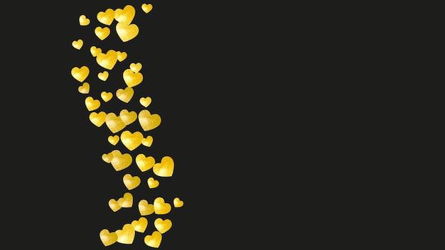 Sfondo di san valentino con cuori glitter oro. 14 febbraio giorno.
