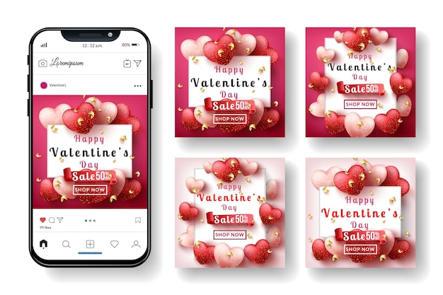 San valentino banner social media post instagram