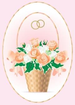 Cartolina di san valentino con un bouquet da sposa di rose tea con gocce di rugiada in un cesto di vimini.