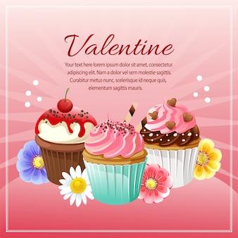 Cartolina di san valentino con fiori colorati cupcake