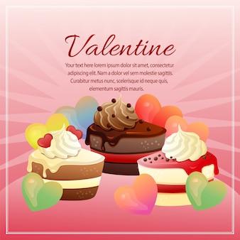 Cartolina di san valentino con forma d'amore e torta al cioccolato