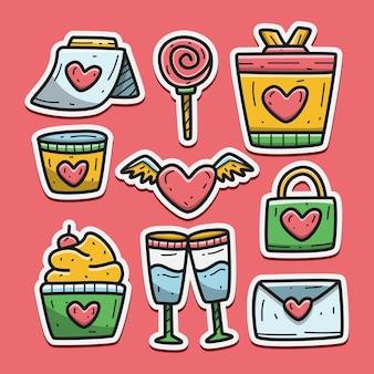 Adesivo di doodle del fumetto di san valentino