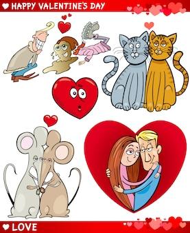 Insieme di amore dell'illustrazione del fumetto di san valentino