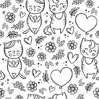 Gattino di giorno del gatto di san valentino che tiene un modello senza cuciture del fumetto disegnato a mano monocromatico dell'aerostato a forma di cuore