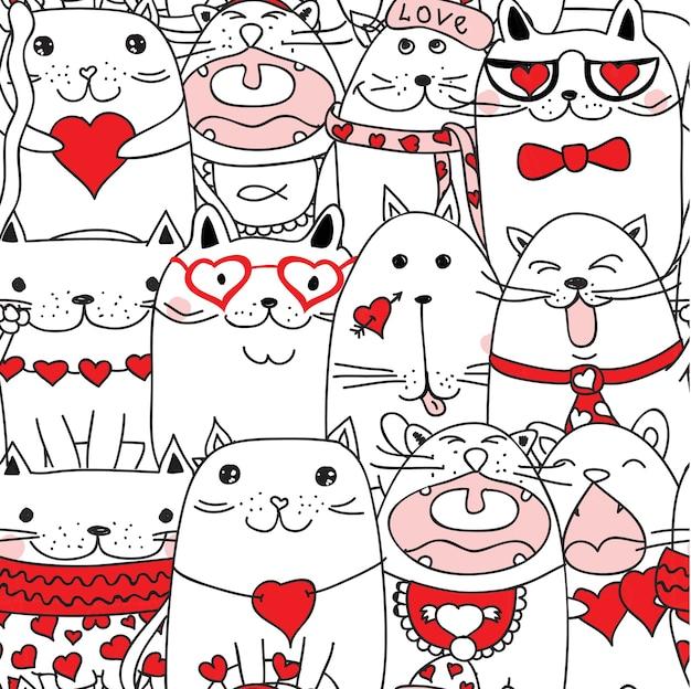 Gatti di san valentino con sfondo di cuori in stile disegnato a mano di doodle