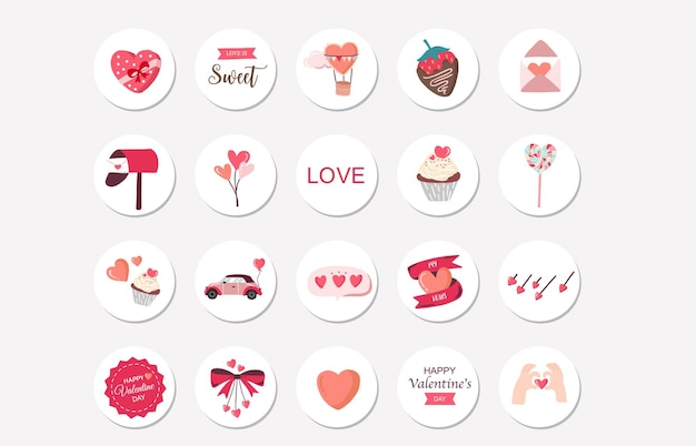 Raccolta di clipart di san valentino con fragola, cuore. raccolta di highlight di instagram