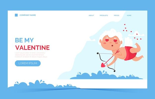 Pagina di destinazione dell'angelo dell'amore di san valentino cupido. cupido carino ragazzo o ragazza.
