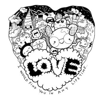 San valentino, scarabocchi di amore disegnati a mano carina, personaggi dei cartoni animati che si divertono nella cornice del cuore con la parola amore