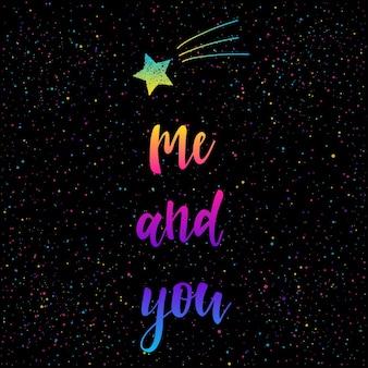Sfondo di carta di san valentino. io e te scritte con doodle star.