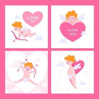 Set di carte di san valentino. carino piccolo cupido per san valentino. baby cupido con arco e freccia. piccolo angelo.
