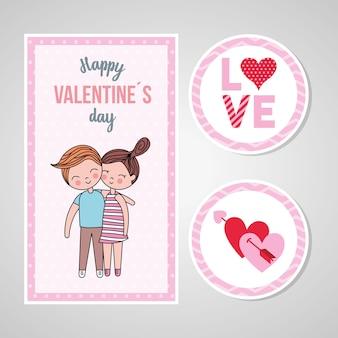Carta di san valentino con coppia in amore e adesivi.