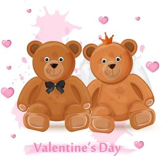Scheda di giorno di san valentino con coppia di orsacchiotti