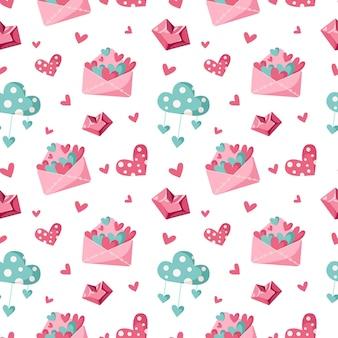 Modello senza cuciture del fumetto di giorno di san valentino - lettera di san valentino carino, nuvola e cuore, carta digitale infinita per vivaio in colore rosa e menta piperita, sfondo per tessile, scrapbooking, carta da imballaggio