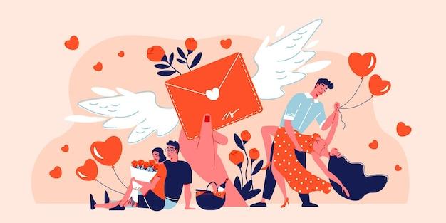 Composizione di giorno di san valentino con icone di fiori di cuori e carta di san valentino in busta rossa con le ali