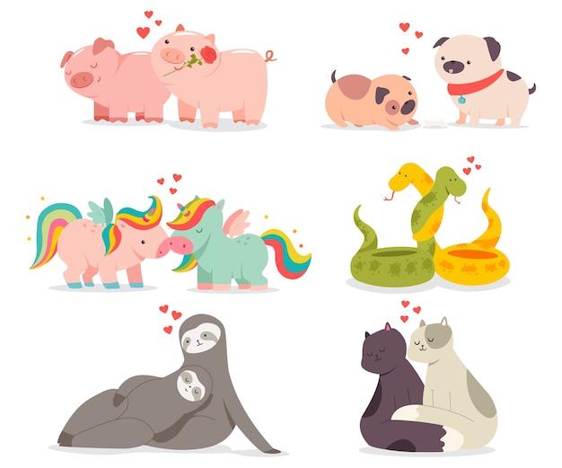 Illustrazione di concetto di giorno di san valentino con simpatici animali in set di personaggi dei cartoni animati di amore