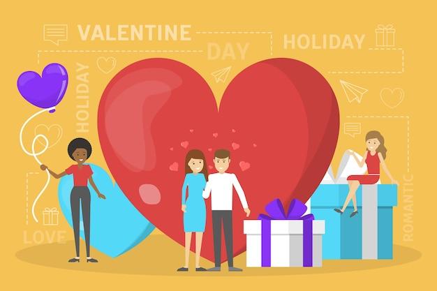 Concetto di giorno di san valentino. le persone celebrano una giornata romantica
