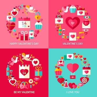 Insieme di concetti di san valentino. quattro poster design piatto illustrazione vettoriale. collezione di oggetti per le vacanze d'amore.