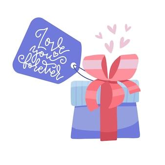 Confezione regalo di san valentino con etichetta