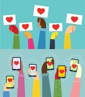 Valentine day gift card holiday love hands tenere striscioni e smartphone con i cuori. illustrazione piana di comunicazione della rete sociale