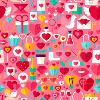 Modello senza cuciture rosa di san valentino. fondo delle mattonelle di vettore di progettazione piana. vacanze d'amore.