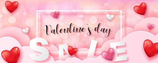 Formulazione di san valentino in cornice bianca con lettere di vendita e cuori rossi su nuvola rosa