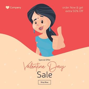 Progettazione dell'insegna di vendita di giorno di san valentino con la ragazza che mostra i pollici aumenta il segno
