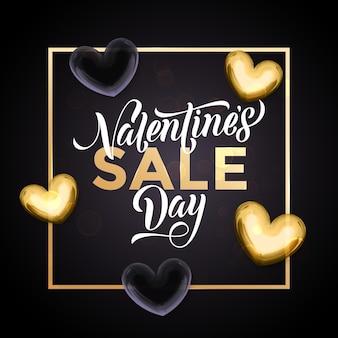 Cuori dorati di vendita di san valentino e testo di calligrafia di lusso in oro per negozio nero premium