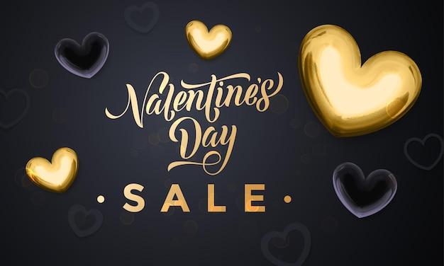 Manifesto di vendita di san valentino di cuori dorati e testo di calligrafia di lusso in oro su sfondo nero premium