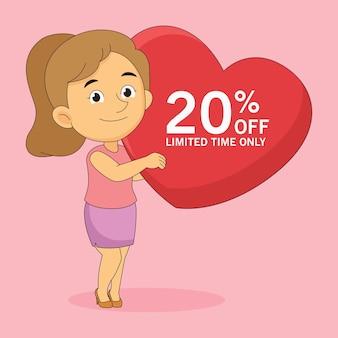 Etichetta di vendita di san valentino del 20 per cento di sconto con la donna