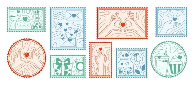 Set di francobolli di san valentino. doodles di amore disegnati a mano.