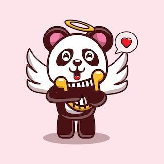 Disegno di san valentino del simpatico panda che suona l'arpa