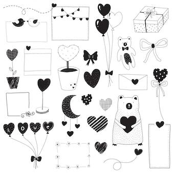 San valentino doodle set in bianco e nero