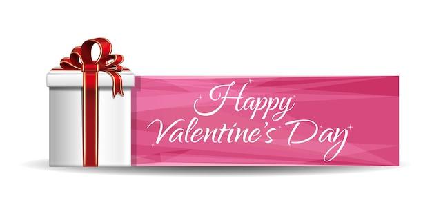 Confezione regalo di san valentino su uno sfondo di banner rosa. iscrizione di saluto - buon san valentino.