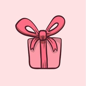 Simbolo di scatola regalo di san valentino social media post vector illustration