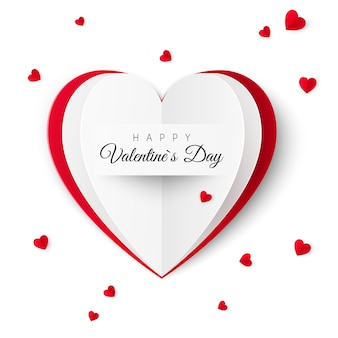 Biglietto di auguri di san valentino con la scritta di un felice san valentino. biglietto di auguri concetto sotto forma di un cuore di carta. illustrazione su sfondo bianco
