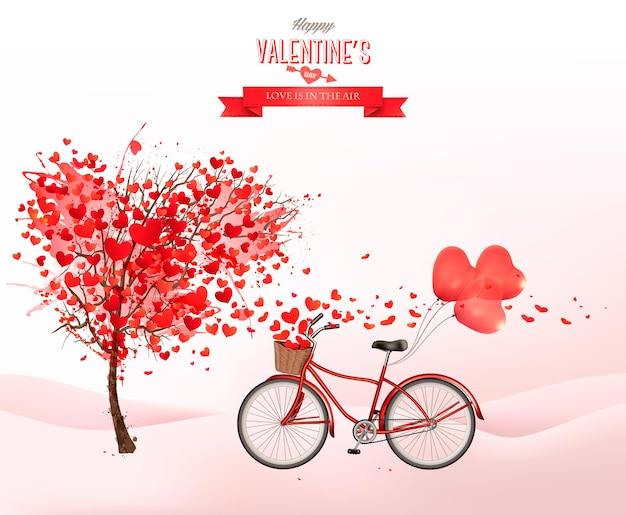 Fondo di festa di san valentino con albero a forma di cuore e bicicletta con palloncini rossi.