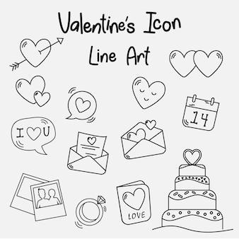 Valentine icon line art